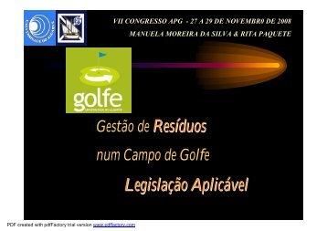 Legislação Aplicável - Associação Portuguesa de Greenkeepers