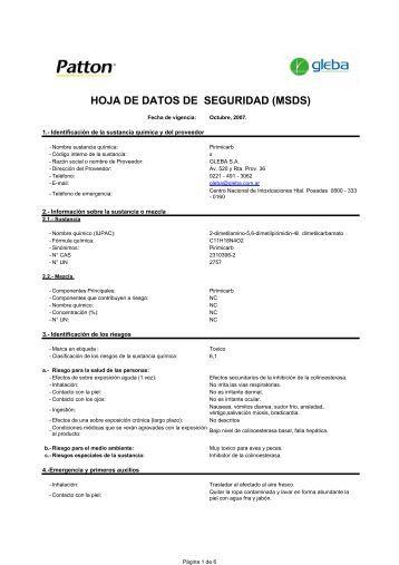 HOJA DE DATOS DE SEGURIDAD (MSDS) - Gleba