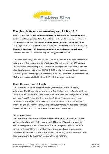 Zusammenfassung GV 2012 - Pressemitteilung - Elektra Sins
