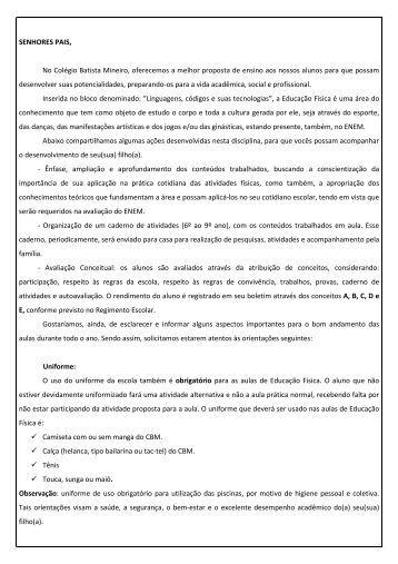 SENHORES PAIS, No Colégio Batista Mineiro, oferecemos a melhor ...
