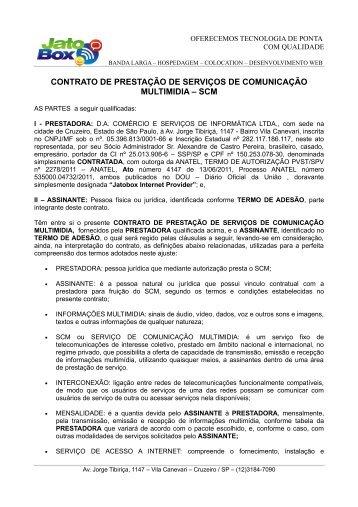 contrato de prestação de serviços de comunicação ... - Jatobox