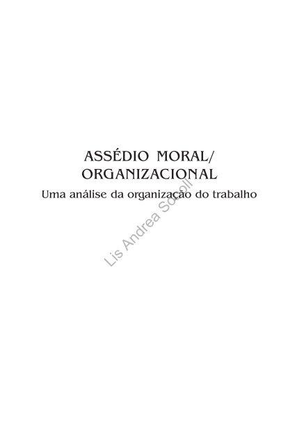 Assédio Moral E Organizacional Tribunal Regional Do