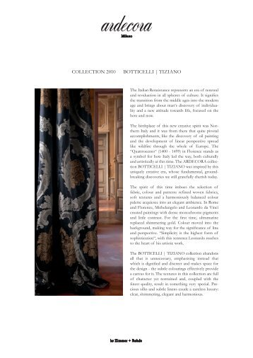 coLLEcTIoN 2010 BoTTIcELLI |  TIZIANo - Zimmer + Rohde