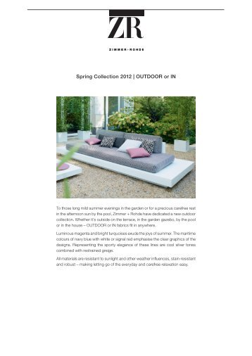 Spring Collection 2012 | OUtDOOr or in - Zimmer + Rohde