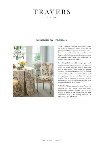 Windermere ColleCtion 2010 - Zimmer + Rohde