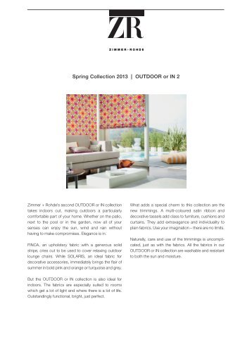 Spring Collection 2013 | OutdOOr or in 2 - Zimmer + Rohde