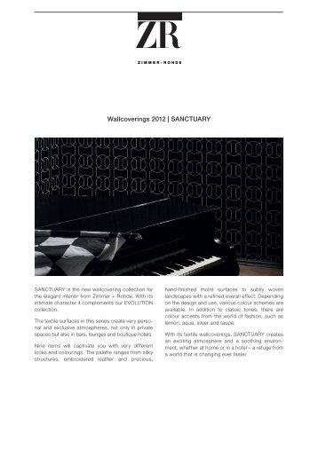 Wallcoverings 2012 | SANCTUARY - Zimmer + Rohde