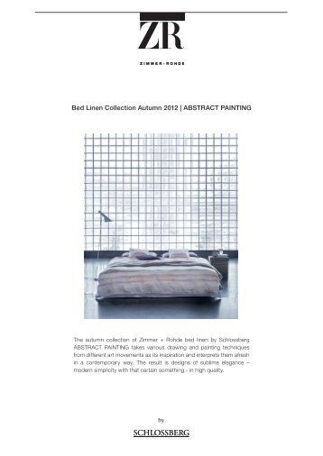 Bed Linen Collection Autumn 2012 | ABSTRACT ... - Zimmer + Rohde