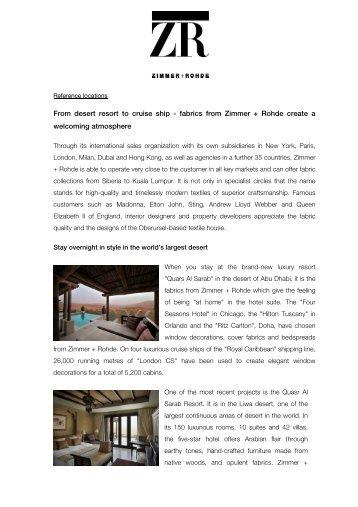 From desert resort to cruise ship - fabrics from Zimmer + Rohde ...