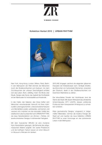 Kollektion Herbst 2012 | Urban rHytHm - Zimmer + Rohde
