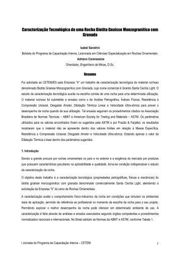 Caracterização Tecnológica de uma Rocha Biotita Gnaisse Monzogr