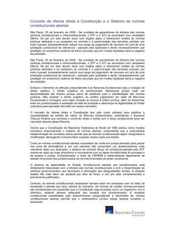 Conceito de ofensa direta à - Siqueira Castro - Advogados