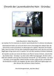 Chronik Laurentiuskirche Hain-Gründau