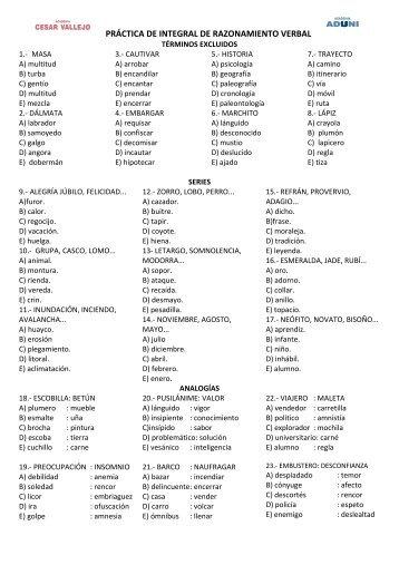 PRÁCTICA DE INTEGRAL DE RAZONAMIENTO VERBAL - Ugel 05