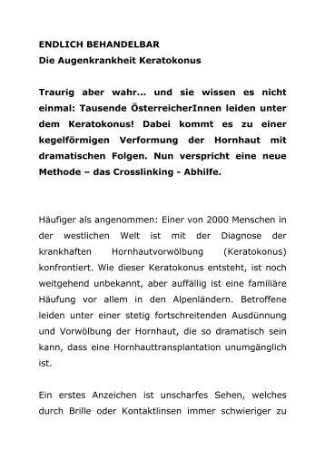 ENDLICH BEHANDELBAR Die Augenkrankheit Keratokonus ...