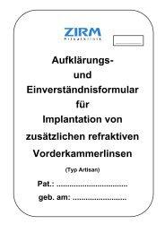 Aufklärungs- und Einverständnisformular für ... - ZIRM Privatklinik