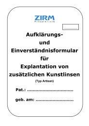 Explantation einer zusätzlichen Kunstlinse - ZIRM Privatklinik