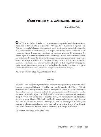 CÉSAR VALLEJO Y LA VANGUARDIA LITERARIA - SciELO - UNAM