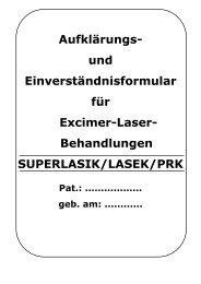 und Einverständnisformular für Excimer-Laser ... - ZIRM Privatklinik
