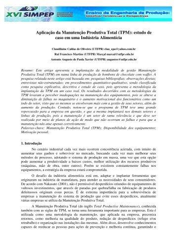 Aplicação da Manutenção Produtiva Total (TPM): estudo ... - UTFPR