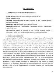 Relatório Final FEHIDRO 261/08 - Prefeitura Municipal de Limeira