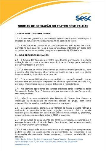 normas de operação do teatro sesc palmas - SESC Tocantins