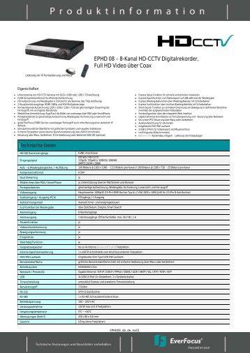 EPHD 08 8-Kanal HD-CCTV Digitalrekorder, Full HD Video über Coax