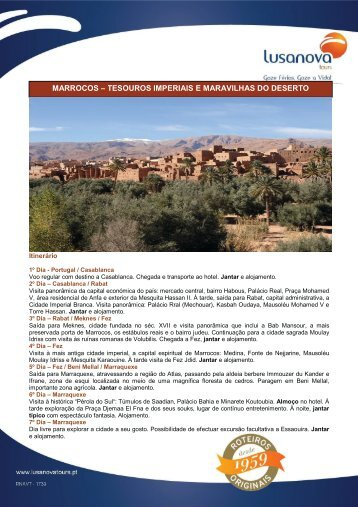 marrocos – tesouros imperiais e maravilhas do deserto - Terra Nova