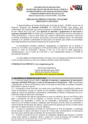 P E 032 2012 - Equipamento de marcenaria e Epi(repetição)