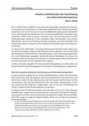 Inhalte und Methoden der Vermittlung von Informationskompetenz