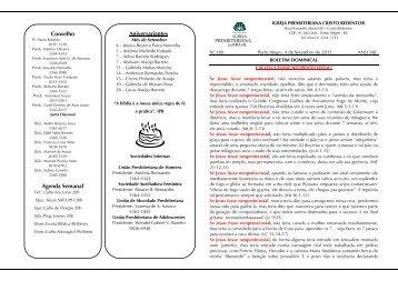 Conselho Agenda Semanal Aniversariantes - Ipcristoredentor.com.br