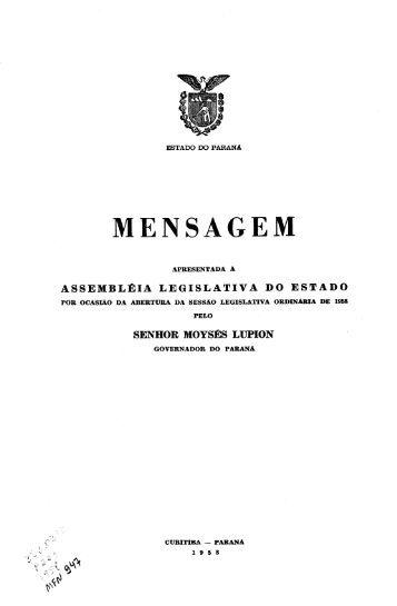 Mensagem de Governo, 1958 (MFN 947) - Arquivo Público do Paraná