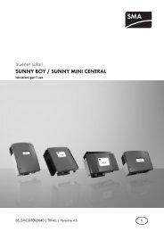 SUNNY BOY / SUNNY MINI CENTRAL - SMA Solar Technology AG