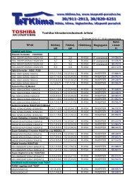Toshiba klímaberendezések árlista - T+T Klíma Bt.