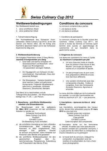 Bedingungen Swiss Culinary Cup 2012. doc - Hotel & Gastro Union