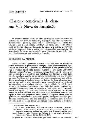 Classes e consciência de classe em Vila Nova de ... - Análise Social