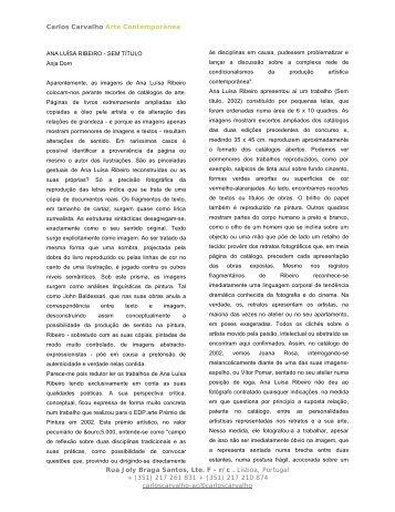 (351) 217 261 831 + (351) 217 210 8 - Galeria Carlos Carvalho