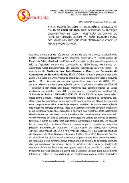ATA DE ASSEMBLÉIA GERAL EXTRAORDINÁRIA ... - Sindauto Bahia