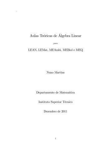 Aulas Teóricas de Algebra Linear - Departamento de Matemática
