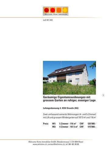 Geräumige Eigentumswohnungen mit grossem Garten an ruhiger ...