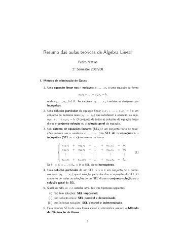 Resumo das aulas teóricas de Álgebra Linear