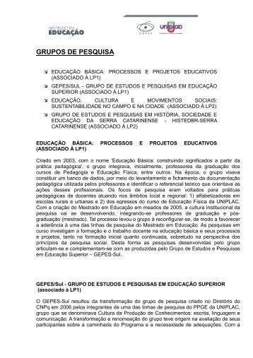 GRUPOS DE PESQUISA - Uniplac