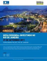 Mesa Redonda: InvestIndo no RIo de JaneIRo - Mergermarket