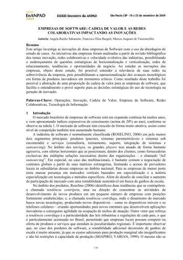 EMPRESAS DE SOFTWARE: CADEIA DE VALOR E AS ... - Anpad