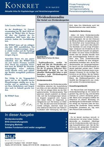 Dividendenrendite - WH&P Weibel, Hess & Partner AG