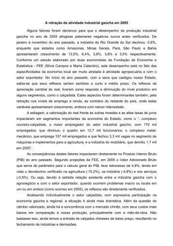 A retração da atividade industrial gaúcha em 2005 ... - Univates