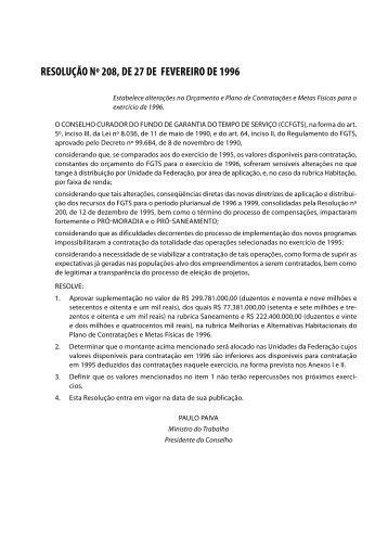 Resolução Nº 208, de 27/02/1996
