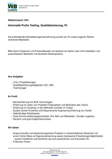 Stelleninserat 1244 - WIB Solutions AG