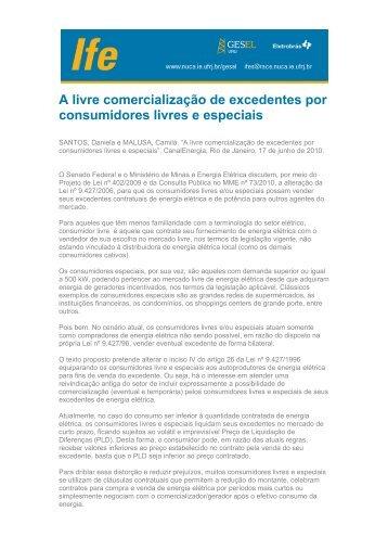 A livre comercialização de excedentes por consumidores ... - UFRJ