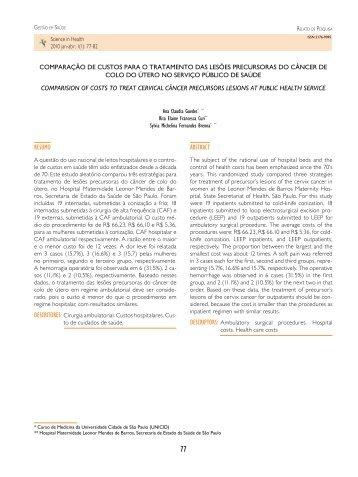 Comparação de custos para o tratamento das lesões - Unicid